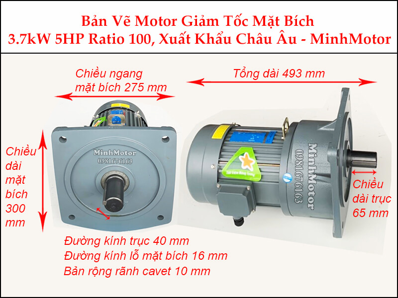 Kích thước motor giảm tốc mặt bích 4 kw 5.5 hp 1/100 ratio 100 trục 40