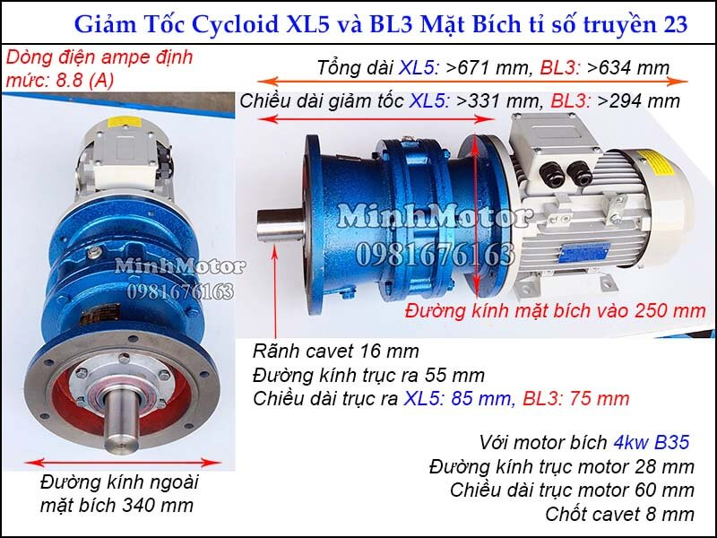 Thông số kỹ thuật Motor giảm tốc 5HP 4kW ratio 23 mặt bích, đường kính ngoài mặt bích 340 mm