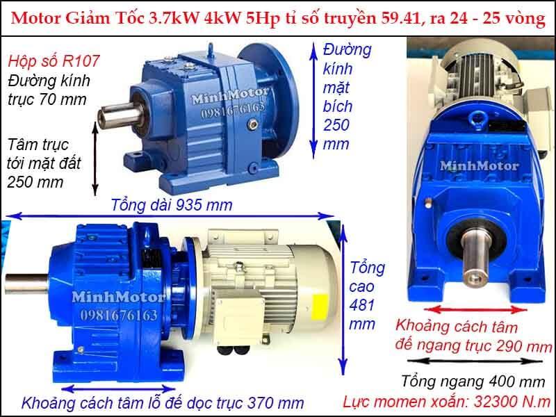 Động cơ giảm tốc tải nặng 5HP 4kW R107, tỉ số truyền 59.41