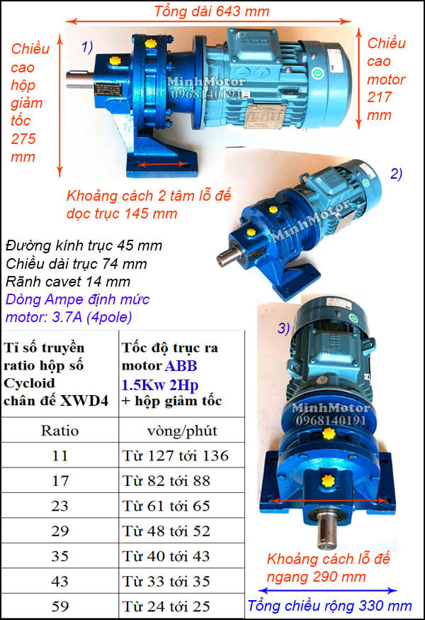 Motor ABB giảm tốc cycloid 2Hp 1.5Kw, trục thẳng XWD4