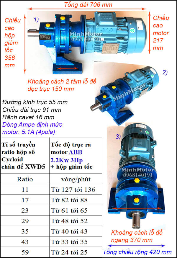 Motor ABB giảm tốc cycloid 3Hp 2.2Kw, trục thẳng XWD5