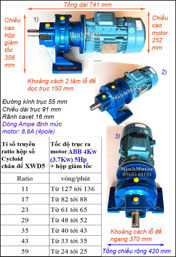Motor ABB giảm tốc cycloid 5Hp 4Kw 3.7Kw, trục thẳng XWD5