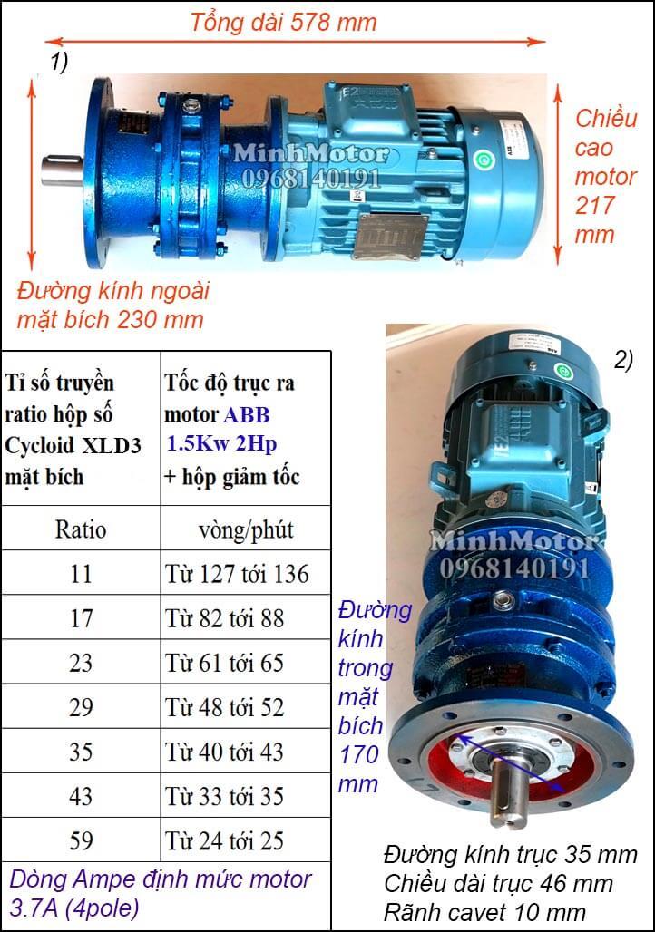 Động cơ giảm tốc mặt bích ABB 2Hp 1.5Kw khuấy XLD3