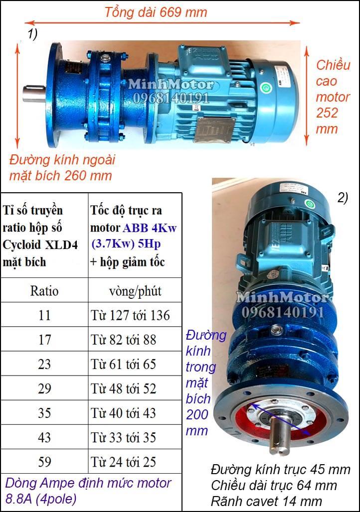 Động cơ giảm tốc mặt bích ABB 5Hp 4Kw 3.7Kw khuấy XLD4