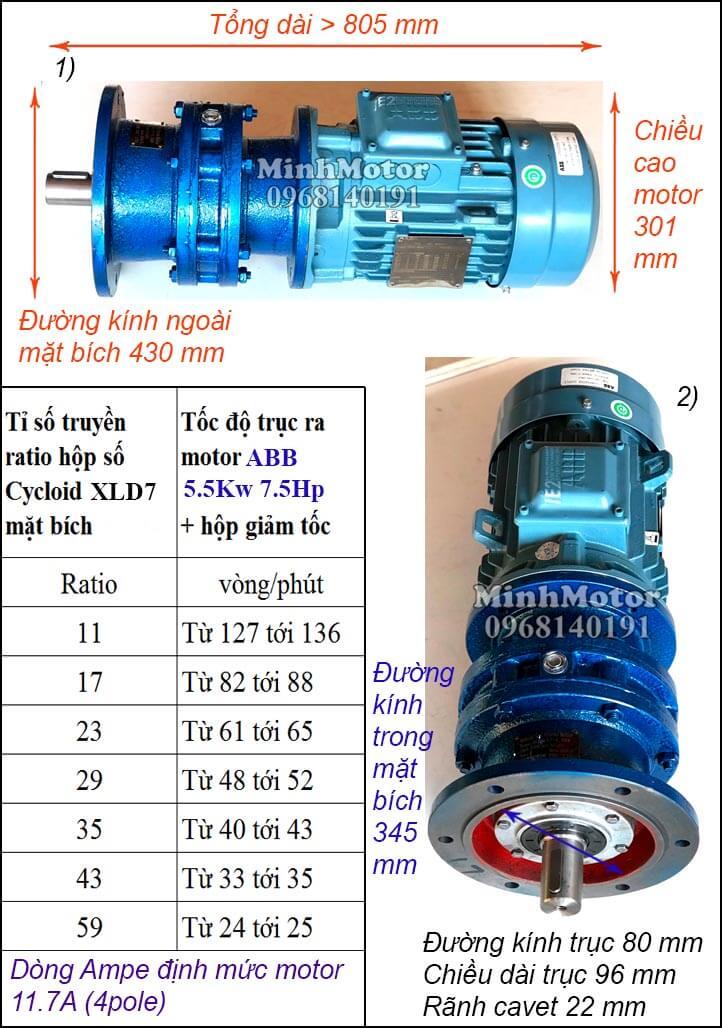 Motor giảm tốc mặt bích ABB 7.5Hp 5.5Kw khuấy XLD7