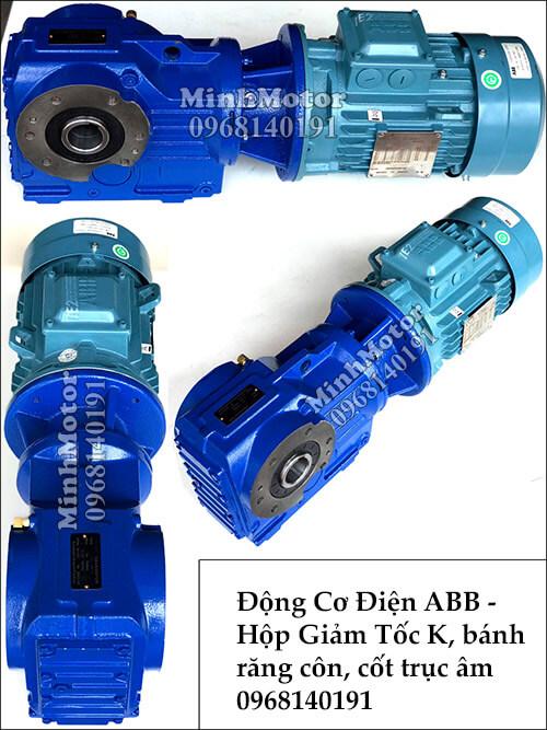 Motor ABB gắn hộp số răng cônK57, 2Hp 1.5Kw cốt âm