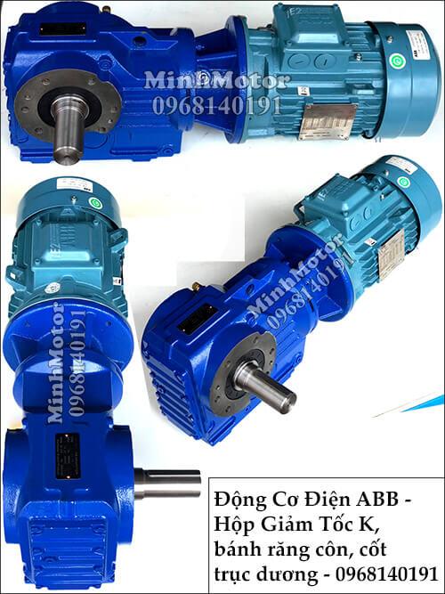 Motor ABB liền hộp số răng côn trục lồi K47, 1Hp 0.75Kw