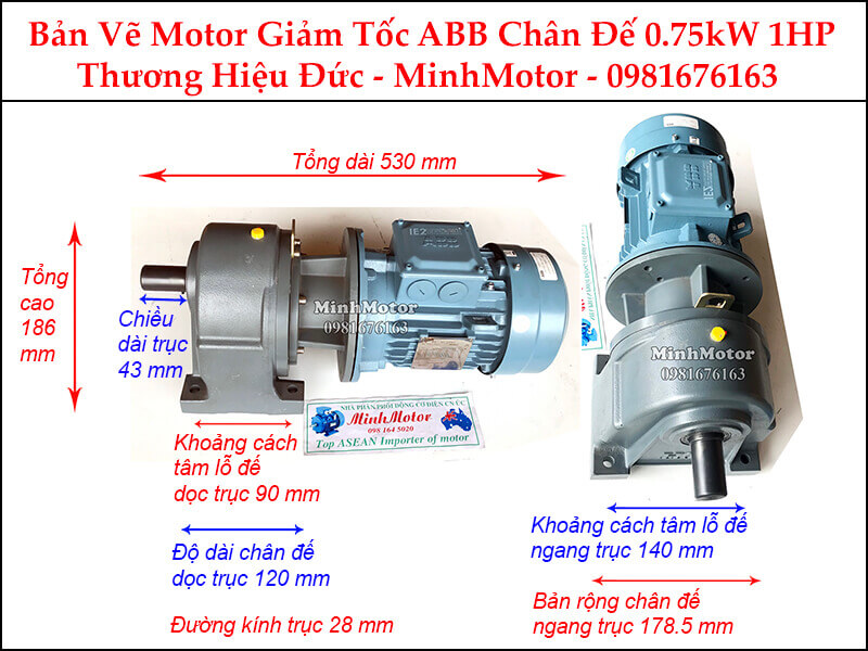 Động cơ giảm tốc ABB 1Hp 0.75Kw chân đế