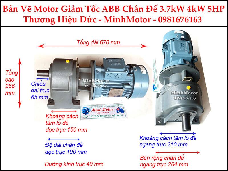 Động cơ giảm tốc ABB 4Kw 3.7Kw chân đế (5Hp)
