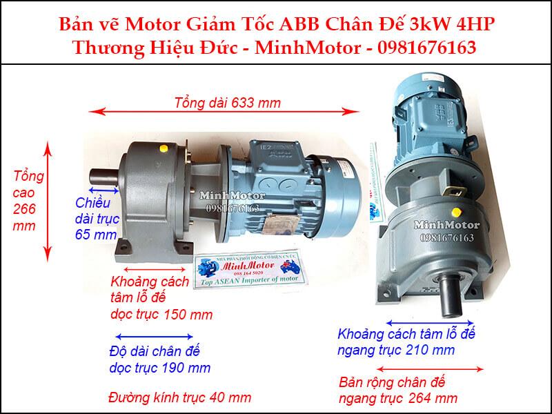Động cơ giảm tốc ABB 4Hp 3Kw chân đế