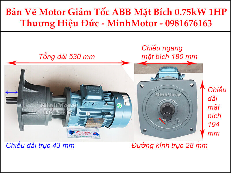 Motor giảm tốc ABB 1Hp 0.75Kw mặt bích