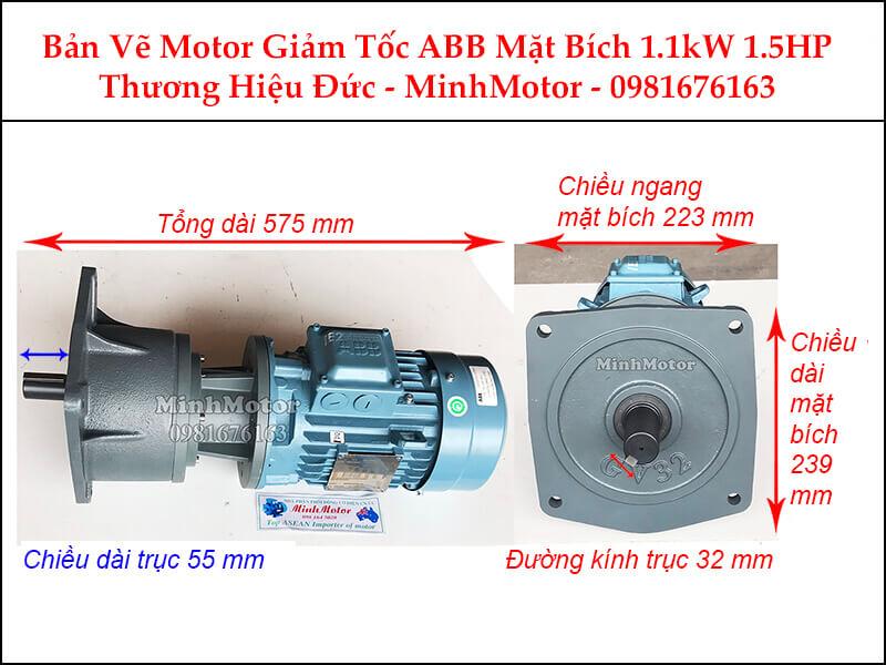 Motor giảm tốc ABB 1.5Hp 1.1Kw mặt bích