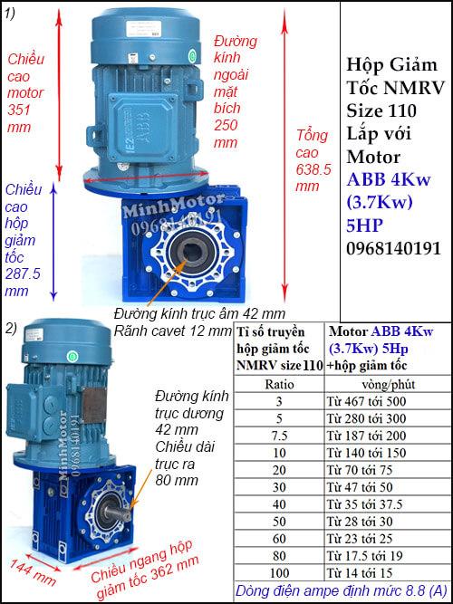 Motor hộp số ABB 4Kw 3.7Kw NMRV 110 trục âm dương (5Hp) lắp thẳng đứng