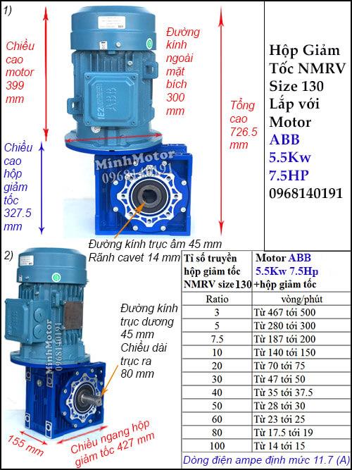 Motor hộp số ABB 5.5Kw NMRV 130 trục âm dương (7.5Hp) lắp thẳng đứng