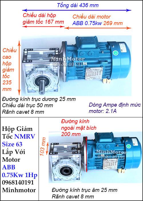 Motor hộp số ABB 1Hp 0.75Kw NMRV 63 trục âm dương