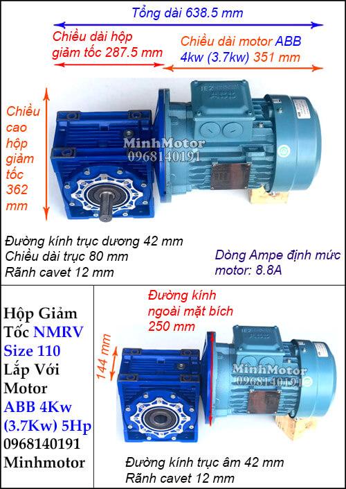 Motor hộp số ABB 4Kw 3.7Kw NMRV 110 trục âm dương (5Hp)