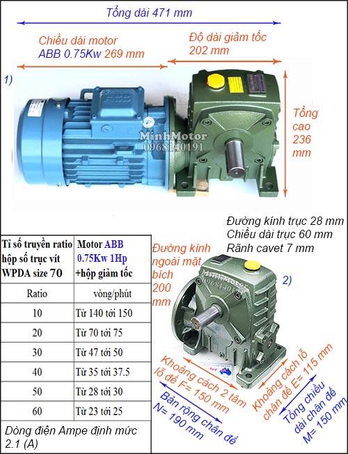 Động cơ hộp số ABB 1Hp 0.75Kw trục vít WPDA, ra vuông góc size 70