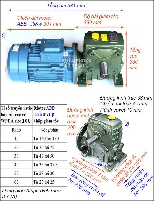 Motor hộp số ABB 2Hp 1.5Kw trục vít WPDA, ra vuông góc size 100