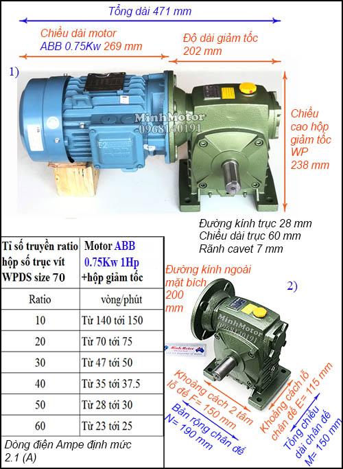 Hộp giảm tốc động cơ ABB 1Hp 0.75Kw WPDS, cốt dương size 70