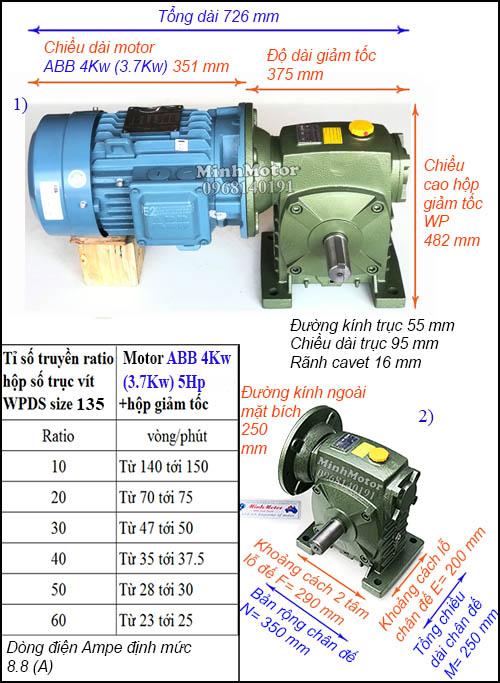 Hộp giảm tốc động cơ ABB 4Kw 3.7Kw WPDS, cốt dương (5Hp)