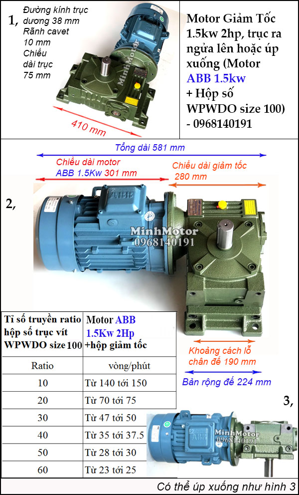 Động cơ ABB giảm tốc 2Hp 1.5Kw trục ngửa úp, WPWDO size 100