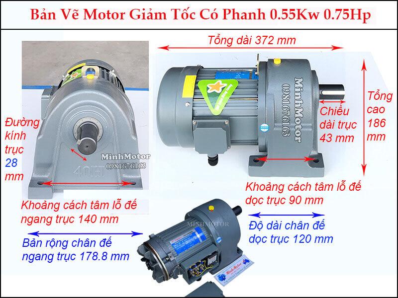 Bản vẽ motor giảm tốc có thắng từ GH 0.55Kw 0.75Hp trục 28