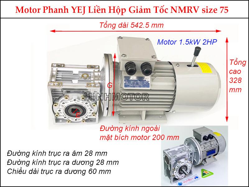 motor phanh YEJ 1.5kw 2hp liền hộp giảm tốc NMRV size 75