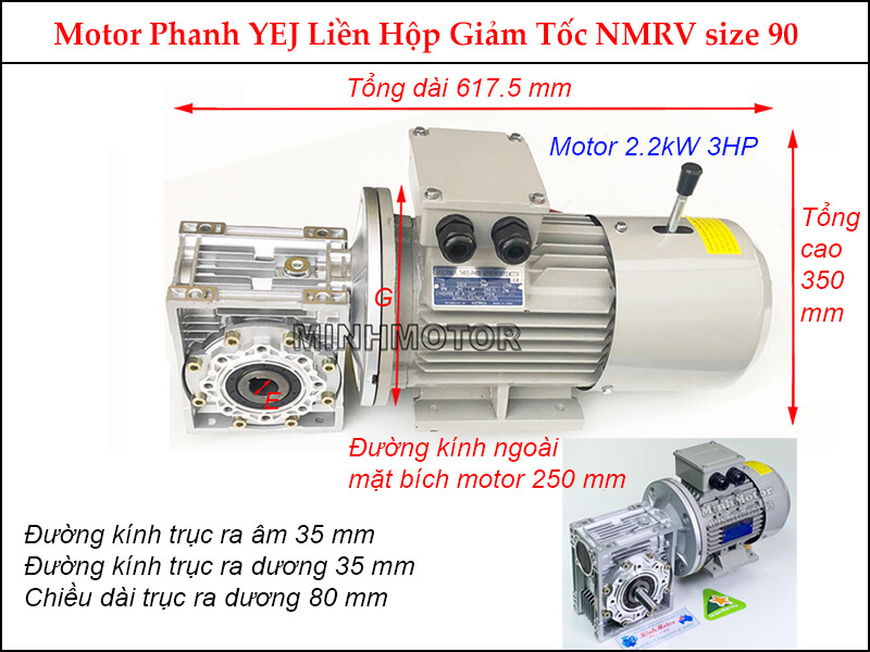 motor phanh YEJ 2.2kw liền hộp giảm tốc NMRV size 90