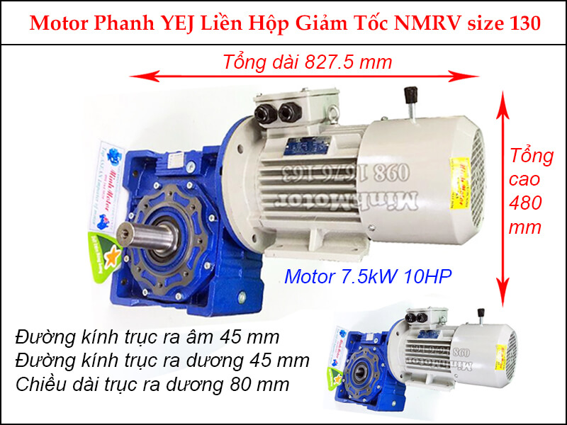 motor phanh YEJ 7.5kw 10hp liền hộp giảm tốc NMRV size 130