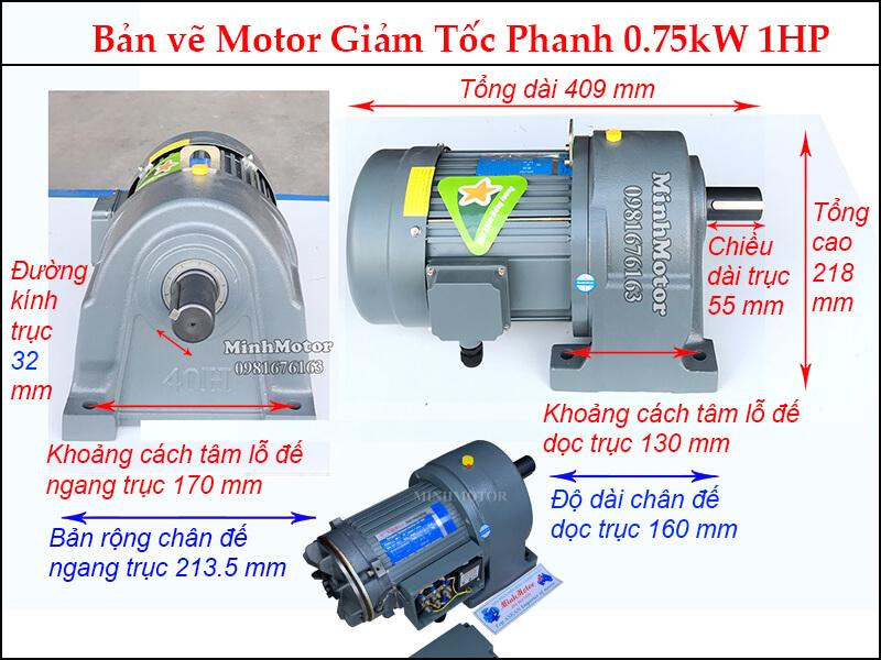 phanh 0.75kw trục 32