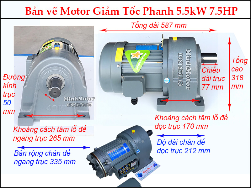 phanh 5.5Kw trục 50