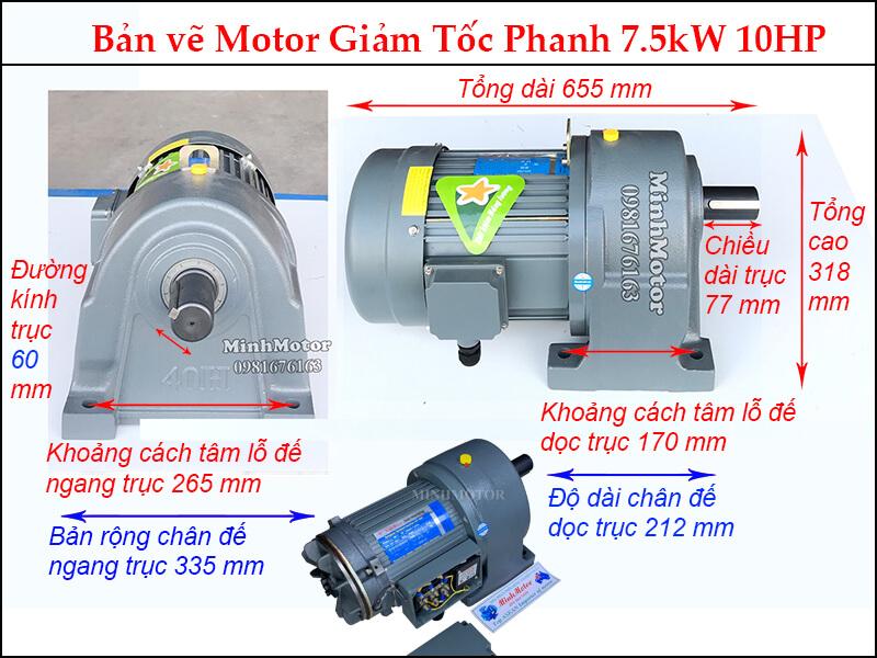 phanh 7.5kw trục 60