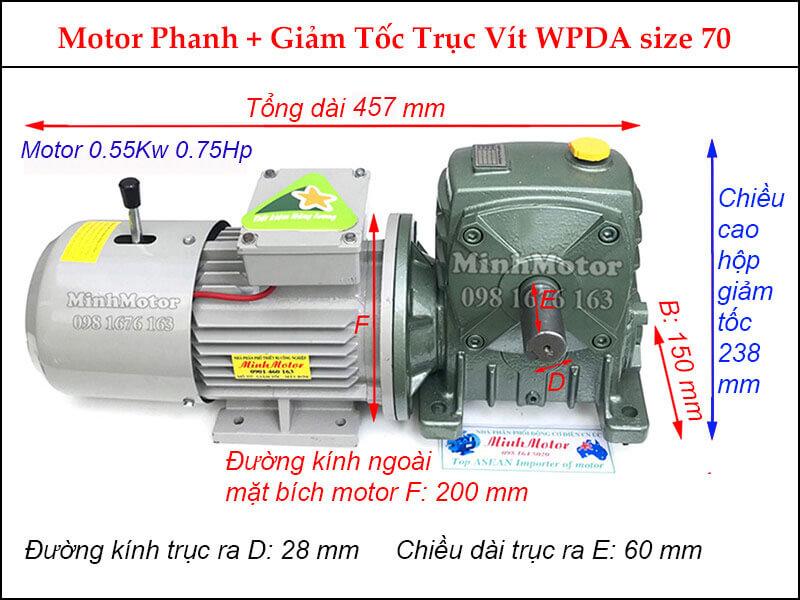 Kích thước động cơ giảm tốc có phanh 0.55Kw 0.75Hp WP trục vít size 70