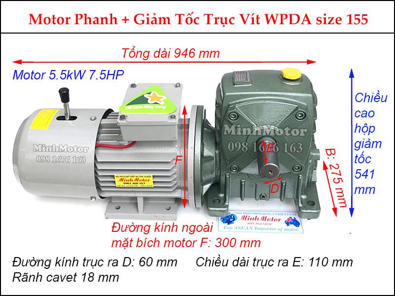 motor phanh 5.5kw 7.5hp liền hộp giảm tốc trục vít wpda size 155