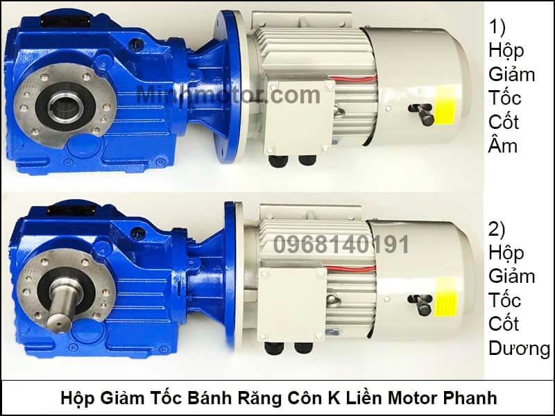 Hộp giảm tốc bánh răng côn K liền motor phanh 0.55Kw 0.75Hp