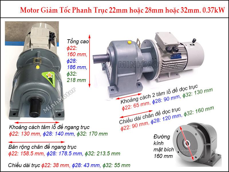 motor phanh liền hộp giảm tốc GHM 0.37kw 0.5hp