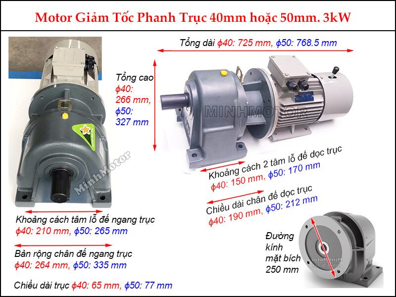 motor phanh liền hộp giảm tốc trục vít GHM 3Kw 4Hp