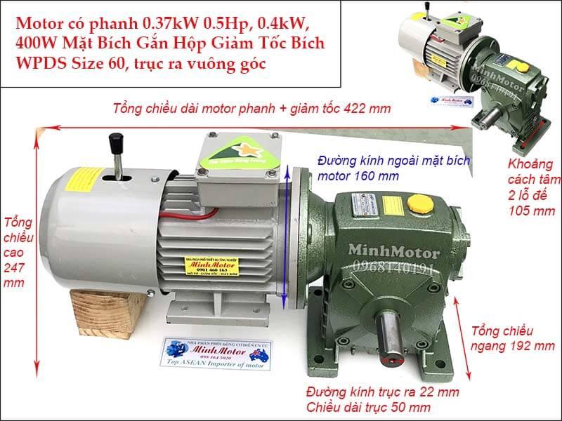 Motor có phanh 0.37kw 0.5hp mặt bích gắn hộp số giảm tốc bích size 60