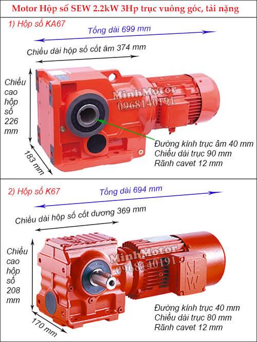 Động cơ giảm tốc Sew 2.2Kw 3Hp K-KA67 bánh răng côn