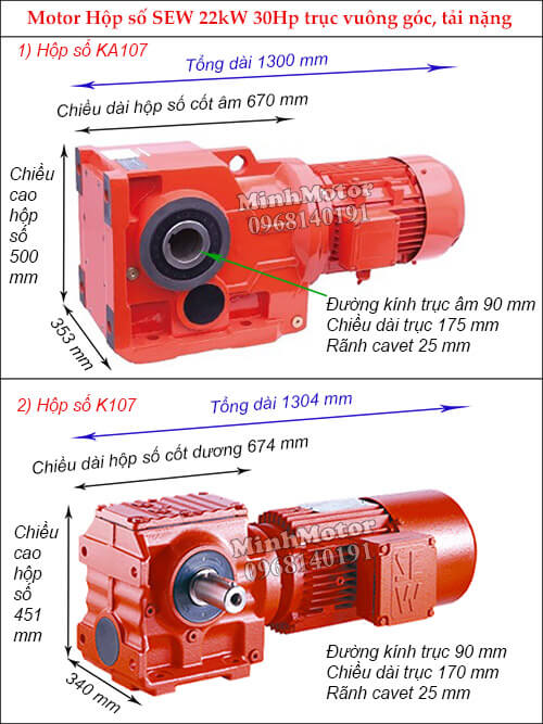 Động cơ giảm tốc Sew 22Kw 18.5Kw 30Hp K-KA107 bánh răng côn