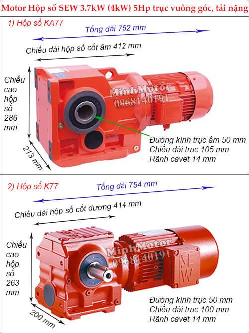 Động cơ giảm tốc Sew 4Kw 3.7Kw 5Hp K77 trục ra vuông góc