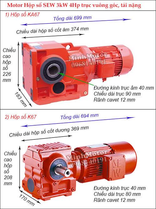 Động cơ giảm tốc Sew 3Kw 4Hp K-KA67 trục ra vuông góc
