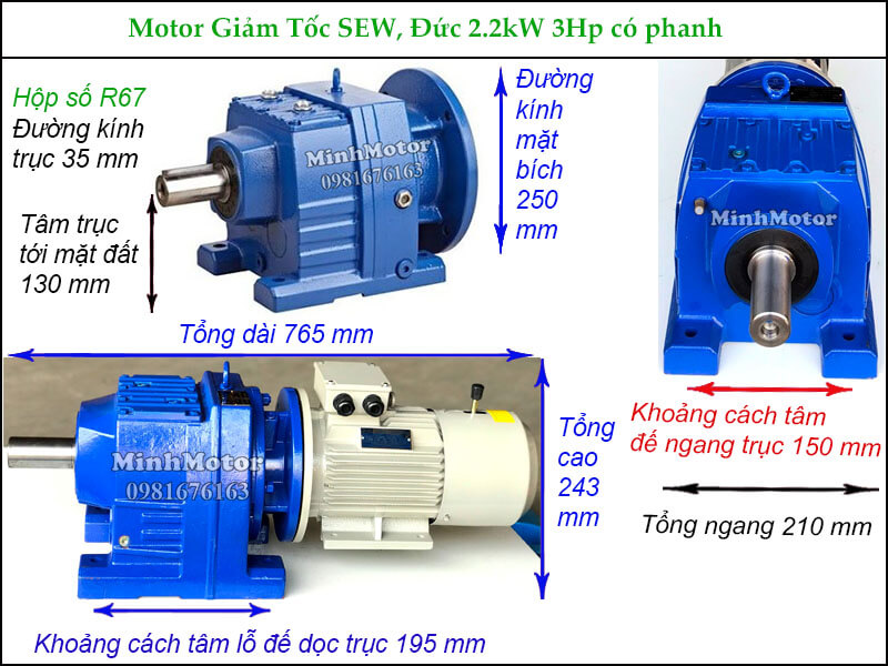Động cơ hộp số SEW 2.2Kw 3Hp có thắng phanh R67