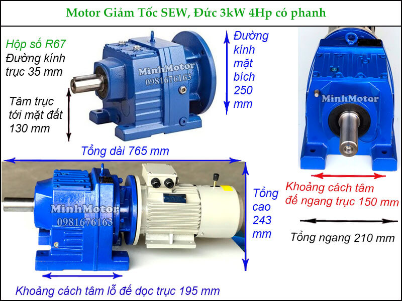 Động cơ hộp số SEW 3Kw 4Hp có thắng phanh R67