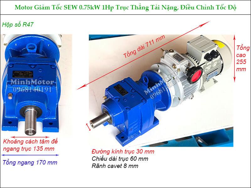Hộp giảm tốc Sew 0.75Kw 1Hp R47 điều chỉnh tốc độ