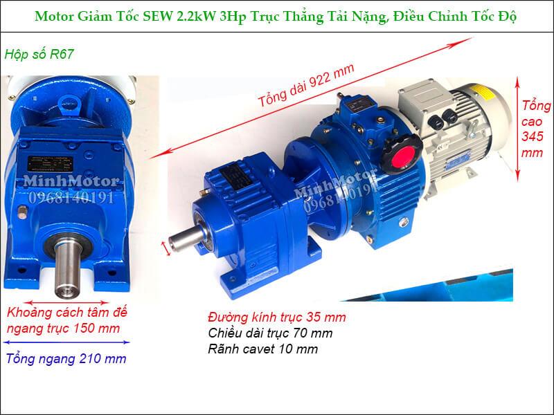 Hộp giảm tốc Sew 2.2Kw 3Hp R67 điều khiển tốc độ