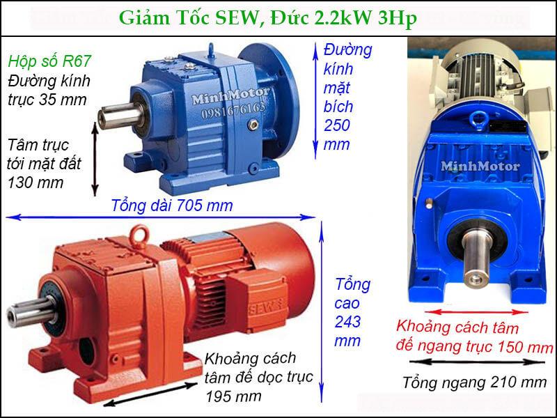 Motor giảm tốc Sew 2.2Kw 3Hp R67 trục thẳng chân đế