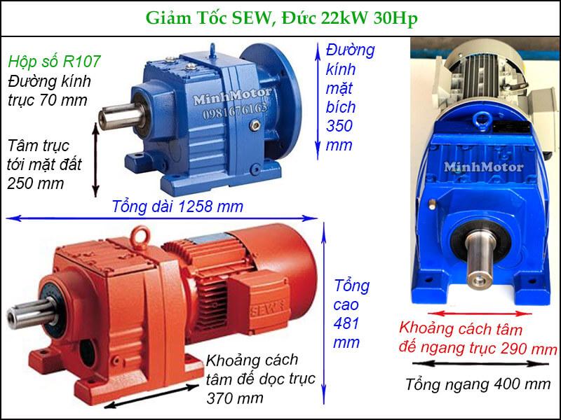 Motor giảm tốc Sew 22Kw 18.5Kw 30Hp R107 trục thẳng chân đế