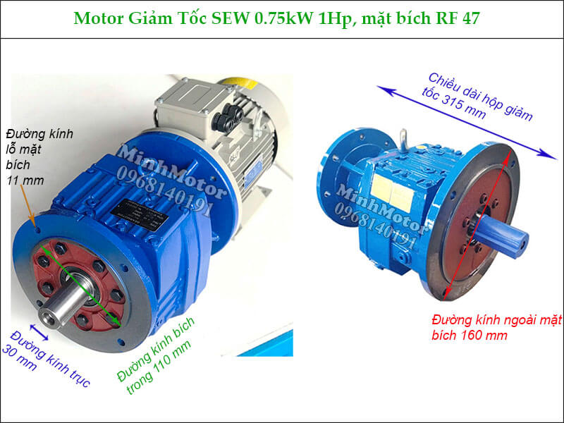 Motor hộp số Sew 0.75Kw 1Hp RF47 mặt bích