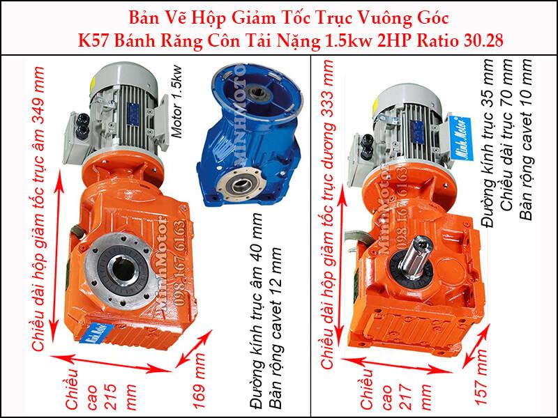 thông số motor giảm tốc 1.5kw 2hp ratio 30.28 trục vuông góc bánh răng côn tải nặng k